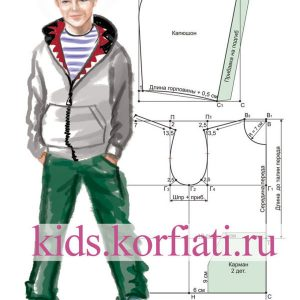 Шьем худи с карманами-кенгуру для мальчика-подростка