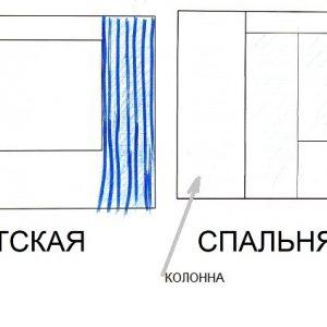 Шторы в не симметричном проёме и у окна с дверью на лоджию.